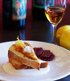 After dinner sweets. Lemon Pound cake with creme fraiche and blood oranges served with sweet port wine stock images