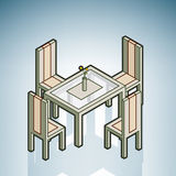 Dinner Table. (part of the Modern Furniture Isometric 3D Icons Set Royalty Free Stock Image