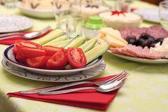 Dinner Table. This image represents a delicious vegetable appetizer dish Royalty Free Stock Photography