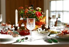 Dinner table. Decorative dinner table set for entertaining royalty free stock photo