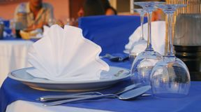 Dinner table. Romantic dinner table with glasses stock photography