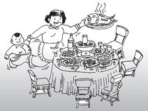 Dinner table. Hand drawn image of a mother and her son setting up a rich dinner table vector illustration