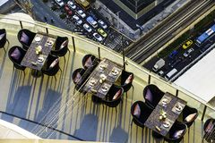 Dinner table Along the balcony of the tall building Bangkok, Thailand, evening time.  stock image