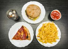 Dinner. A table with fast food. View from above. Royalty Free Stock Photo