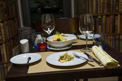 Dinner table. Intimate ambience. luxury dinner Stock Images