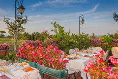 Dinner table in Italian restaurant Stock Image
