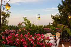 Dinner table in Italian restaurant Royalty Free Stock Photo