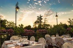 Dinner table in Italian restaurant Stock Images