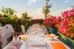 Dinner table in Italian restaurant Royalty Free Stock Photos