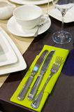 Dinner table place setting Stock Photos