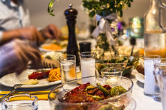 Dinner table with raki, ouzo. Turkish and Greek traditional rustic dinner table with raki, ouzo Royalty Free Stock Photography