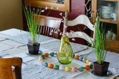 Dinner Table Ready for Easter Supper Stock Images