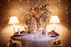 Dinner table sarved for two people decorated in winter style. Stock Photo