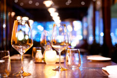 Dinner table set up. In a restaurant Royalty Free Stock Photo
