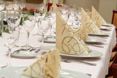 Dinner table setting Stock Photo