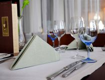 Dinner table setting. Elegant table setting with wine menu Stock Photo