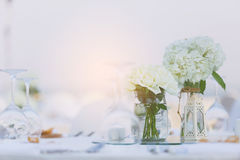 Dinner table setting. On the beach for wedding celebrate Royalty Free Stock Image