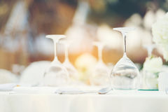 Dinner table setting. On the beach for wedding celebrate Stock Image