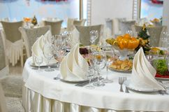 Dinner Table Setting.Christmas, Holiday Decorations.New Year Celebration stock image
