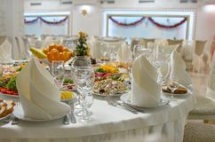 Dinner Table Setting.Christmas, Holiday Decorations.New Year Celebration stock photography