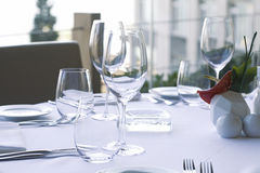 Dinner Table Setting at a Restaurant. Royalty Free Stock Photos