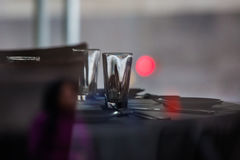 Dinner table setup with empty glass. Royalty Free Stock Photography