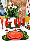 Dinner table setup - Italian Style Royalty Free Stock Images