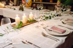 Dinner table setup royalty free stock photography