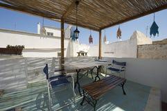 Dinner table on the terrace Stock Photo