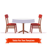 Dinner table for two with white cloth and chairs. Dinner table for two with white cloth and red wooden chairs. Flat style illustration. EPS 10 vector Stock Image