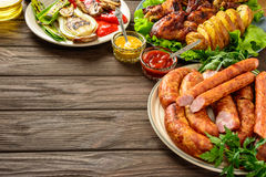 Dinner table with variety food.Copy space. Stock Photography