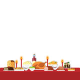 Dinner table. Vector illustration of Christmas food on the table in flat style. Isolated on white background. Christmas cuisine or dishes. Perfect for New Year Stock Photography