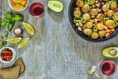 Dinner table , Vegetarian dinner, red wine, delicious lunch stock photo