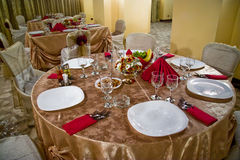 Dinner table05. Fancy table set for a wedding dinner Royalty Free Stock Images