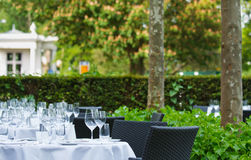 Dinner tables on terrace of star restaurant 1 Royalty Free Stock Images