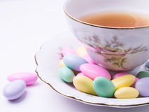 After dinner tea and candy stock images