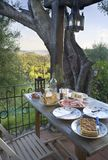 Dinner on a terrace Royalty Free Stock Images