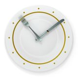 Dinner time. Plate, fork and knife on white background Royalty Free Stock Photo