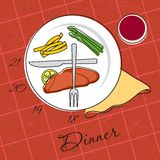 Dinner time. Vector illustration of a plate with hours for dinner Stock Photo