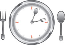 Dinner time. Image clock face with a fork and spoon Stock Photos