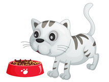 Dinner time. Illustration of a kitten about to eat food Stock Photo