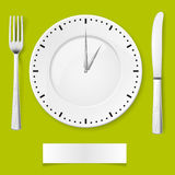 Dinner time. Fork, spoon and clock-plate. Illustration for You creative ideas Stock Images