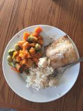 Dinner time!. Baked salmon, roasted butternut squash and Brussels sprouts, and jasmine Stock Images