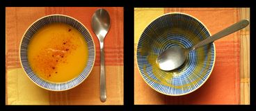 Dinner time. Bowl full of pumpkin with spoon and bowl empty Royalty Free Stock Photo