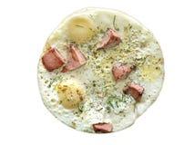 Dinner time, omelet. White background Stock Photos