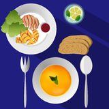 Dinner. Top view. Vector illustration Stock Images