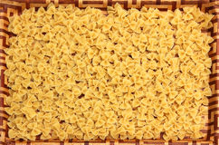 Dinner tray with farfalle noodles Royalty Free Stock Images