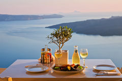 Dinner for two on a sunset background Royalty Free Stock Image