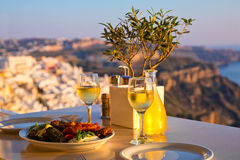 Dinner for two on a sunset background Stock Photography