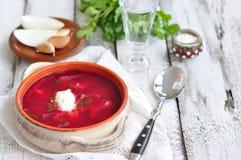Dinner, Ukrainian soup from vegetables Borsch Royalty Free Stock Image